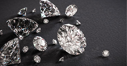 diamonds on a black table
